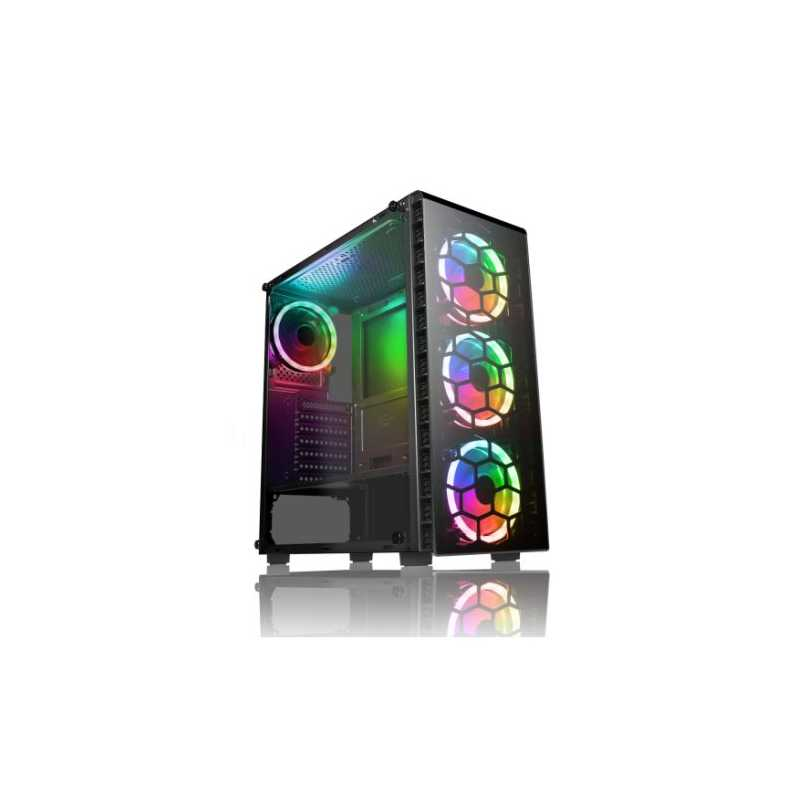 Spire Raider ATX Gaming Case with Window, No PSU, Front & Back RGB Fans with Remote, Tempered Glass, PCB Hub