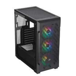 Corsair iCUE 220T RGB Airflow Gaming Case with Window, ATX, No PSU, 3 x 12cm Fans, USB 3.0, Black