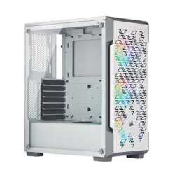 Corsair iCUE 220T RGB Airflow Gaming Case with Window, ATX, No PSU, 3 x 12cm Fans, USB 3.0, White
