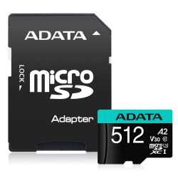 ADATA Premier Pro 512GB SDXC Card with SD Adapter, UHS-I Class 10 (U3), V30 Video Speed (4K), R/W 100/80 MB/s