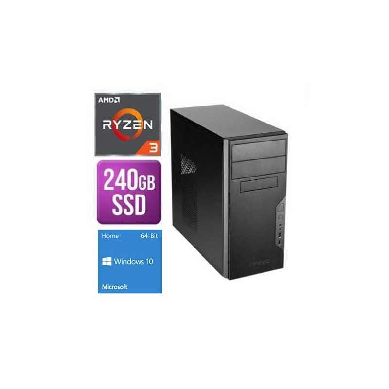 Spire Tower PC, Antec VSK3000B, Ryzen 3 3200G, 8GB, 240GB SSD, Corsair 450W, DVDRW, KB & Mouse, Windows 10 Home