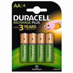 Duracell Recharge Plus Pack of 4 AA 1300mAh Rechargeable Batteries