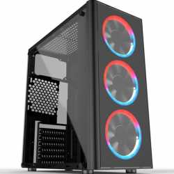 Cronus Metis Mid Tower 1 x USB 3.0 / 2 x USB 2.0 Tempered Glass Side Window Panel Black Case with RGB LED Fans & I/O Panel Contr