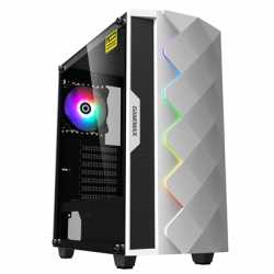 GameMax White Diamond Mid Tower 1 x USB 3.0 / 1 x USB 2.0 Tempered Glass Side Window Panel White Case with Addressable RGB LED L