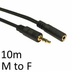 3.5mm (M) Stereo Plug to 3.5mm (F) Stereo Socket 10m Black OEM Cable