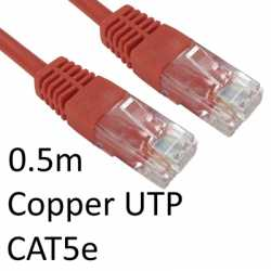 RJ45 (M) to RJ45 (M) CAT5e 0.5m Red OEM Moulded Boot Copper UTP Network Cable