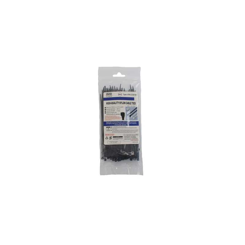 Evo Labs Black Cable Ties 150 x 2.5mm 100 Pack