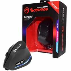 Marvo Scorpion M703W Wireless Blue LED Black Right-Handed Ergonomic Rechargeable Gaming Mouse