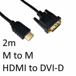 HDMI 1.4 (M) to DVI-D (M) 2m Black OEM Display Cable