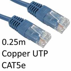RJ45 (M) to RJ45 (M) CAT5e 0.25m Blue OEM Moulded Boot Copper UTP Network Cable