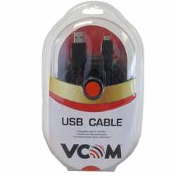 VCOM USB 2.0 A (M) to USB 2.0 Mini B (M) 1.8m Black Retail Packaged Data Cable