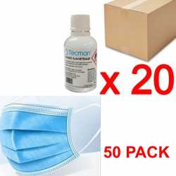 PPE Bundle Includes Hand Sanitiser 70% Alcohol Box of 20 x 50ml Bottles and 3 Layer Disposable Face Mask - 50 PACK