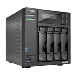 ASUSTOR AS6604T Lockerstor 4-Bay NAS Enclosure (No Drives), Quad Core CPU, 4GB DDR4, USB 3.2, 2 x 2.5G LAN,  2 x M.2 NVMe