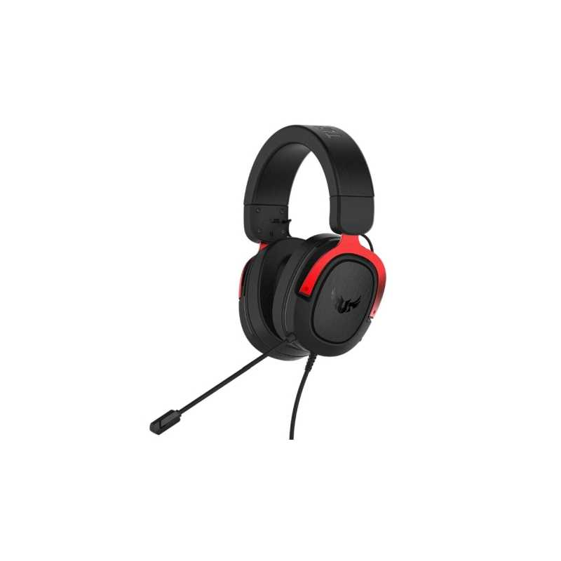 Asus TUF Gaming H3 7.1 Gaming Headset, 3.5mm Jack, Boom Mic, Surround Sound, Deep Bass, Fast-cooling Ear Cushions, Black & Red