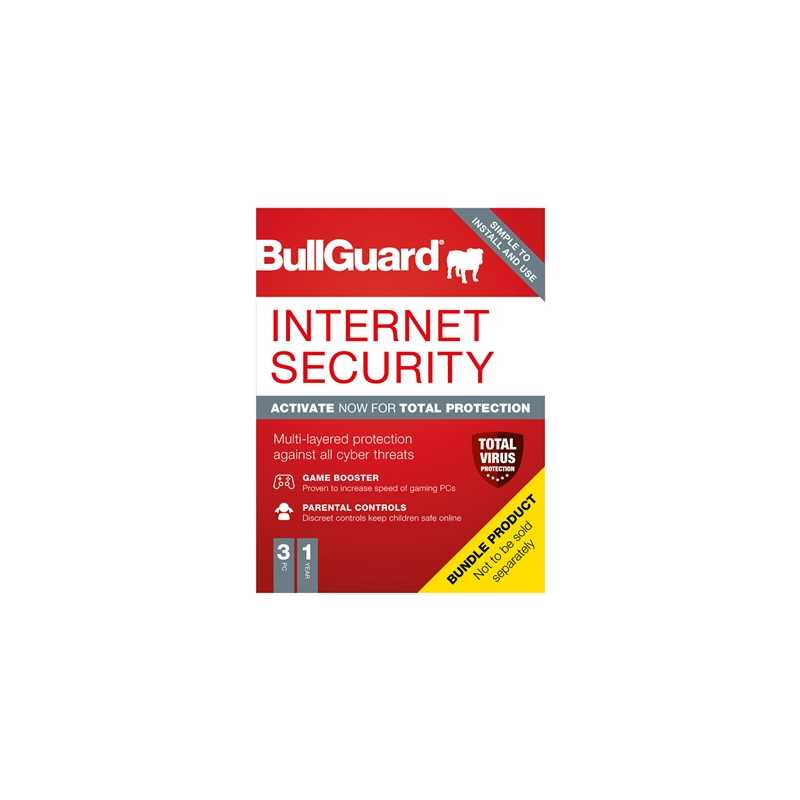 Bullguard Internet Security 2021 1Year/3PC Windows Only 25 pack Soft Box English