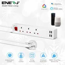 ENER-J WiFi Smart Mains Power 3-Gang Extension with USB