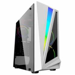 CiT Mars Mid Tower 1 x USB 3.0 / 2 x USB 2.0 Tempered Glass Side Window Panel White Case with Addressable RGB LED Lighting & Fan