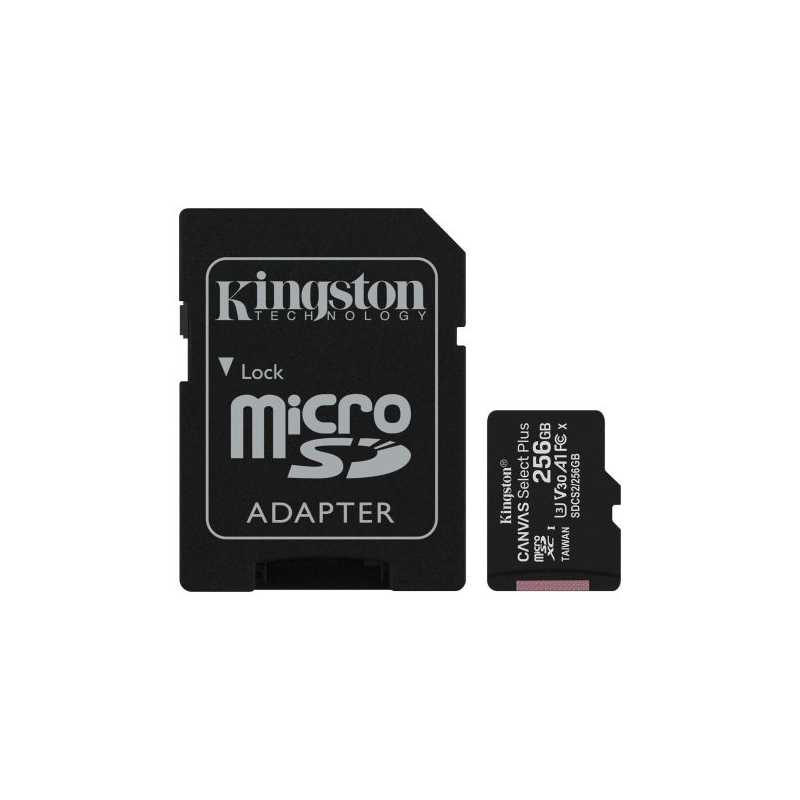 Kingston 256GB Canvas Select Plus Micro SDXC Card with SD Adapter, Class 10 with A1 App Performance