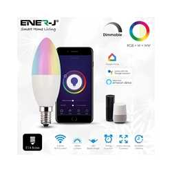 ENER-J Smart WiFi RGB with White and Warm White 4.5W LED Candle Bulb with E14 Base