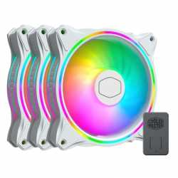 Cooler Master MasterFan MF120 Halo White Edition Addressable Gen 2 RGB 3 Fan Pack with ARGB Controller