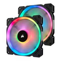 Corsair LL140 14cm PWM RGB Case Fans x2, 16 LED RGB Dual Light Loop, Hydraulic Bearing, Twin Pack