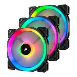 Corsair LL120 12cm PWM RGB Case Fan, 16 LED RGB Dual Light Loop, Hydraulic Bearing, 3-Pack