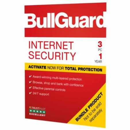 Bullguard Internet Security 2019 Soft Box, 3 User - Single, Windows Only, 1 Year