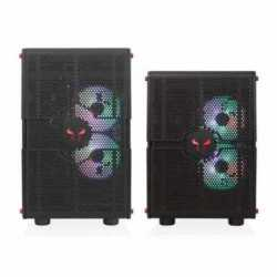 Riotoro GPX100 Morpheus Convertible Mini-to-Mid Tower Case,  EATX MB, Perforated Mesh, Red LED Fans, USB-C, Dual Chamber, Tool-less