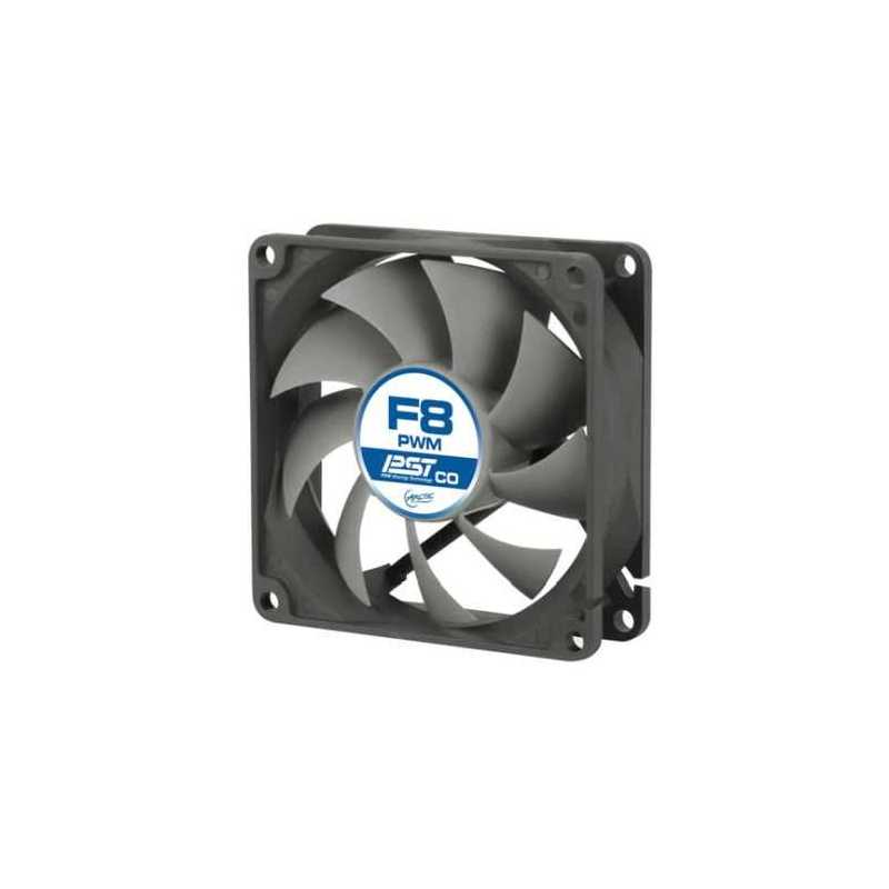 Arctic F8 8cm PWM PST Case Fan for Continuous Operation , Black & Grey, 9 Blades, Dual Ball Bearing, 6 Year Warranty