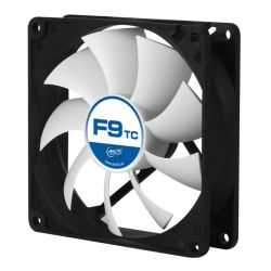 Arctic F9 9.2cm Temperature Controlled Case Fan, Black & White, Fluid Dynamic, 6 Year Warranty