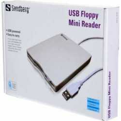 "Sandberg External USB 3.5"" Floppy Drive, White/Grey, 0.5 Metre Cable, 5 Year Warranty"