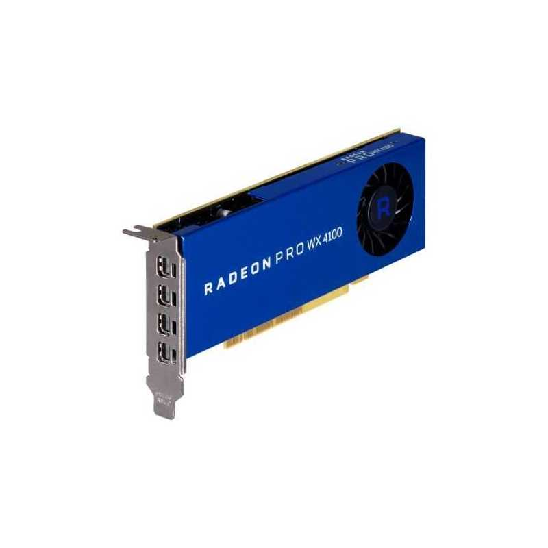 AMD Radeon Pro WX 4100 Professional Graphics Card, 4GB DDR5, 4 miniDP (4 x DP adapters), 1201MHz Clock, Low Profile (Bracket Included)
