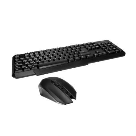 Spire RF-888 Wireless Keyboard and Mouse Desktop Kit, Micro USB Receiver, Multimedia, Black, Retail