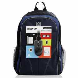 "Approx (APPNBBUNDLE40) Backpack & Mouse Bundle - 15.6"" Case in Black & Blue with USB Optical Mouse"